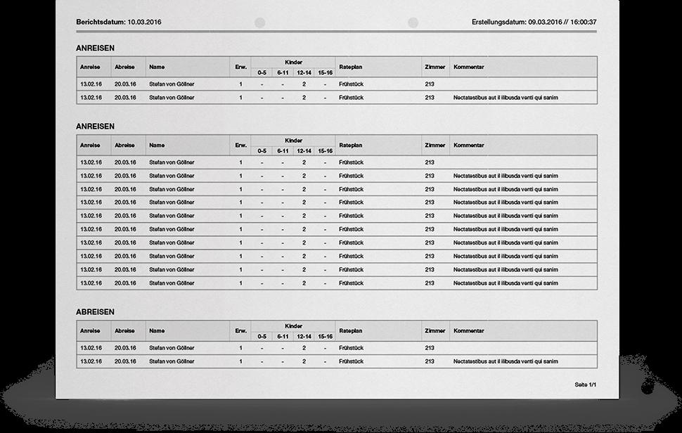 Hotelmeister - Cloud Hotelsoftware - Berichtswesen, Berichte, Listen